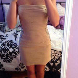 LaFemme Champagne Dress With Sheer Sides